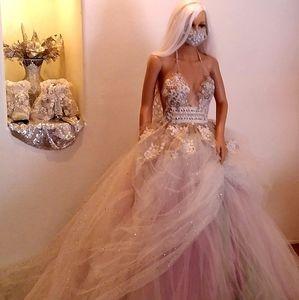 """CECILIA"" Ivory & Pastel Wedding Ballgown Set"